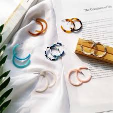 2018 Japanese and Korean Acetate C Shape <b>Earrings</b> Fashion ...