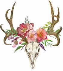 Deer Clipart, Bohemian Art, <b>Boho Deer</b>, Deer Skull with Flowers ...