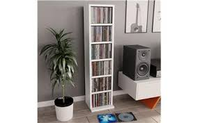 vidaXL <b>CD Cabinet</b> White <b>21x20x88</b> cm Chipboard - Rewardia