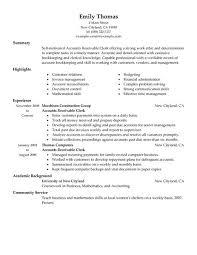 accounts receivable clerk resume example resume examples for accounting