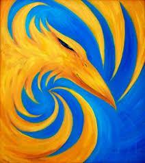 <b>Fire Phoenix</b> On Blue Background, Original Oil <b>Painting</b>, <b>Phoenix</b> ...