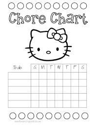 chore charts for kids hello kitty
