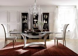 dining table parson chairs interior: modern glass top dining table by bellini furniture with parson dining chairs and crown chandelier plus
