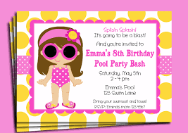 american girl invite pool party invitation printable or printed shipping you pick hair color style skin tone