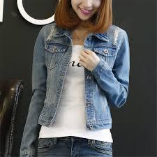 Buy <b>Korean Fashion Autumn</b> Long Sleeve <b>Women</b> Denim Jacket ...