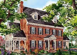 Plan PM  Classic Brick Colonial Home   Colonial  Bricks and    Plan PM  Classic Brick Colonial Home   Colonial  Bricks and Side Porch