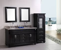 open bathroom vanity cabinet: bathroom fetching black bathroom vanity plus twin sinks feat arch faucets under wall mirrors for open