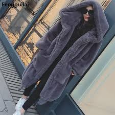Winter Warm hooded Large size Medium length Solid color Fur ...