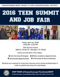 rd annual rd congressional district teen summit job fair congressman veasey s 2016 teen summit