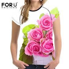 <b>FORUDESIGNS</b> Colorful 3D Flower <b>Women T Shirt</b> Summer O Neck ...