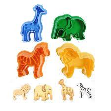 4pcs/set Cookies Stamp Cutters Biscuit <b>Moulds</b> 3D <b>Plastic Animals</b> ...
