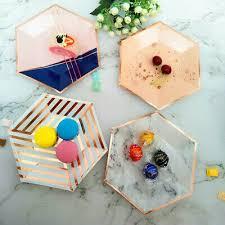 <b>Disposable</b> 7''Paper Plate Hexagon <b>Rose Gold</b> Marble <b>Stripe</b> Disk ...