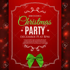 christmas party poster template green bow christmas christmas party poster template green bow christmas background stock vector 49454162