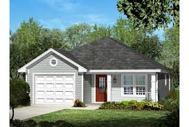 ePlans Ranch House Plan   Narrow Lot Three Bedroom   Square    Front  EP