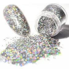 <b>Holo Laser</b> Glitter Nail Art Sequins Shining Silver Hexagon Tips ...