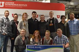 utah entrepreneurs win over  hopeful entrepreneurs hold the ceremonial giant check granted to the winners of this month s lassonde get