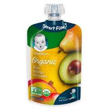Gerber 2nd Foods 3.5 Oz. <b>Smart Flow Organic</b> Pear Mango Avocado ...