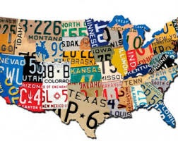 home decor plate x: usa license plate map  x  plasma cut metal sign united states vintage style home office garage art wall decor