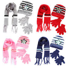 Kids Unisex <b>Autumn Winter Warm Children</b> Scarf Hat Gloves Sets ...