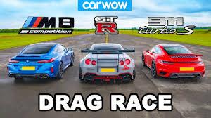 Porsche 911 Turbo v BMW M8 v <b>Nissan GT</b>-<b>R</b>: DRAG RACE ...