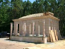 Vacation home plans using precast architectural stone from DAC ARTOur DAC ART house   the roof trusses in place