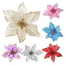 <b>5pcs Artificial Flowers</b> For Decoration <b>Glitter</b> Golden Edge Fake ...