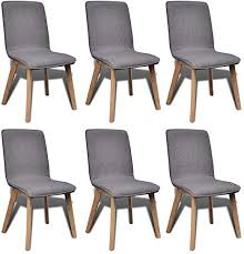 6 Dark Gray <b>Fabric</b> and Solid <b>Oak</b> Wood <b>Dining</b> Chairs <b>Indoor</b>