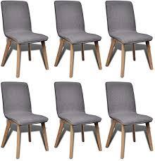6 Dark Gray <b>Fabric</b> and Solid <b>Oak</b> Wood <b>Dining</b> Chairs <b>Indoor</b>