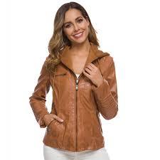 <b>Leather</b> Jacket <b>Women Long sleeved Women Zipper Leather</b> ...