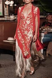 Sexy <b>Fashion V Neck</b> Floral Printed Tassel Splicing Maxi <b>Dress</b> ...