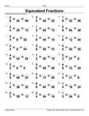 Fractions worksheets, understanding fractions, adding fractions ...Finding numerators for three equivalent fractions