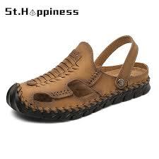 2021 New Summer <b>Men's</b> Leather Sandals Outdoor <b>Non slip</b> Flat ...
