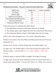 math word problems for kids tallest lighthouses metric units · tallest lighthouses metric units answers