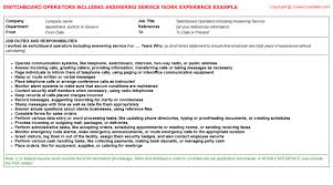 switchboard wireman cv work experience   switchboard operators including answering service