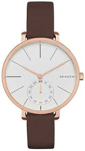 <b>Skagen</b> | Women's Hagen Leather Strap <b>Watch</b>, 34mm | Dame ure ...