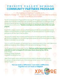 trinity valley school community partners program click here for the flyer
