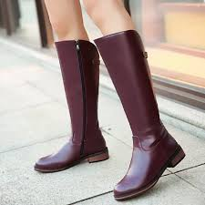 Shoes Women New Fashion Side Zipper Knee High Boots Women ...