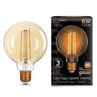 <b>Лампа Gauss LED Filament</b> G95 E27 8W Golden 740lm 2400К ...