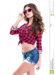 Attractive <b>Woman</b> With <b>Beautiful Long Curly</b> Hair In Pink Sunglasses ...