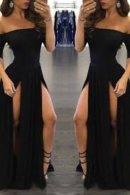 <b>Sexy Black Long</b> Off-the-Shoulder A-Line Half Sleeve Scoop <b>Sexy</b> ...