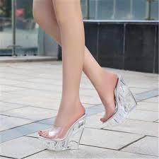 <b>FeiYiTu</b> Women 14CM Glass Crystal Wedge Heel Slippers <b>Summer</b> ...