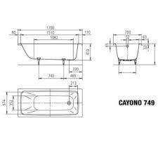 <b>Стальная ванна KALDEWEI Cayono</b> 170x70 easy-clean mod. 749 ...