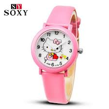 Buy 2018 Hello Kitty <b>Cartoon Watches Kid</b> Girls Leather Straps ...