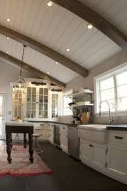love recessed lightingpaneling for great room beams nice too would this work ceiling and walls are bm white heron touch of gray cabinets are pl beams lighting