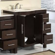 design basin bathroom sink vanities: image of incredible bathroom sink cabinets buampq from dark wood furniture with stainless steel drawer pulls