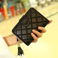 New <b>Fashion Genuine Leather Lattice</b> Women Wallet Clutch ...