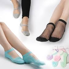 2019 <b>Korea Crystal Silk</b> Socks Cotton Bottom Anti Slip Transparent ...