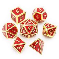 Haxtec 7PCS Metal Dice Set Gold Red DND Dice for ... - Amazon.com