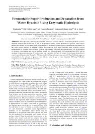 Fermentable Sugar Production and Separation from Water <b>Hyacinth</b> ...