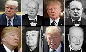 President Trump frowns to look like Winston Churchill   Daily Mail ...